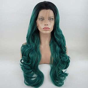 "26"" GREEN W/ DARK ROOTS BODY WAVY  LACE FRONT WIG"